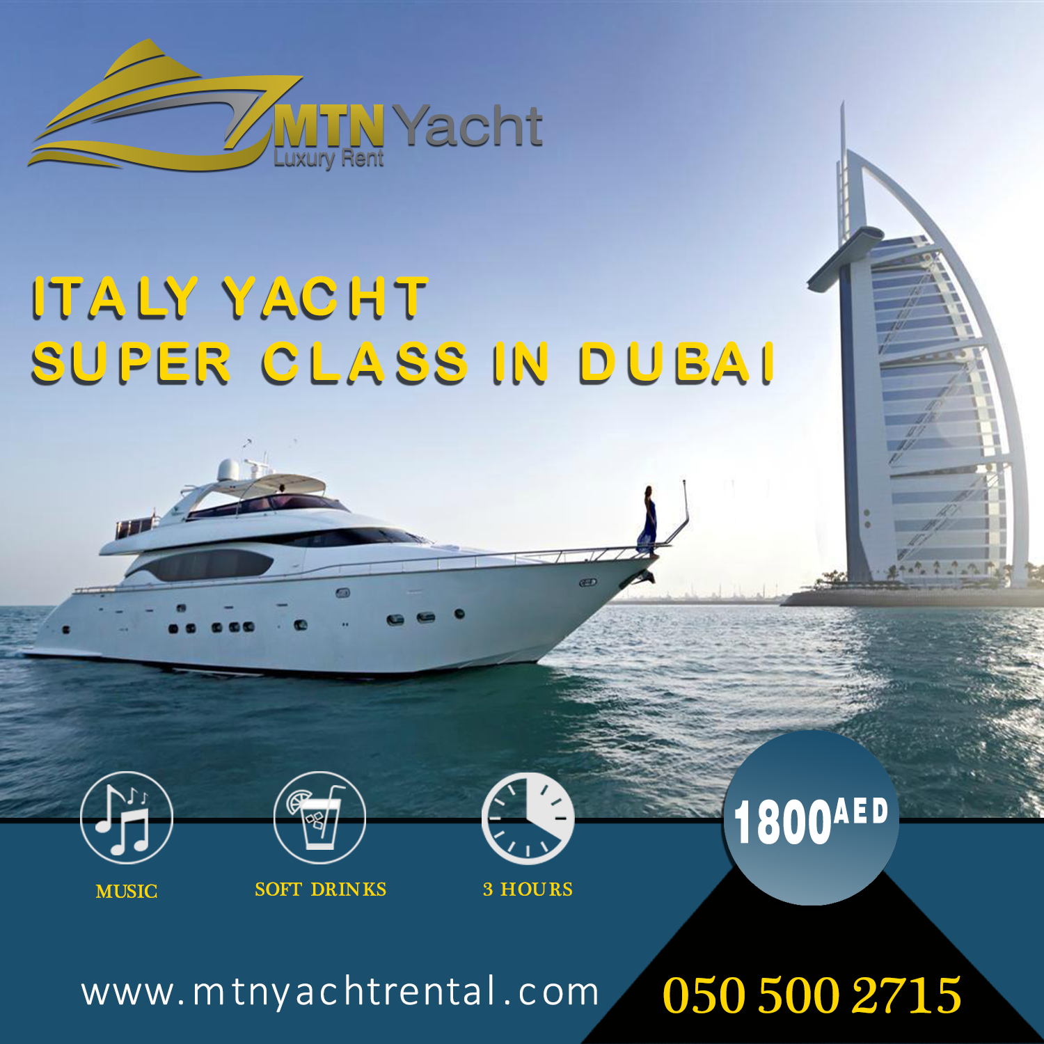 Luxury Yacht Tour Offer 1800aed+3h